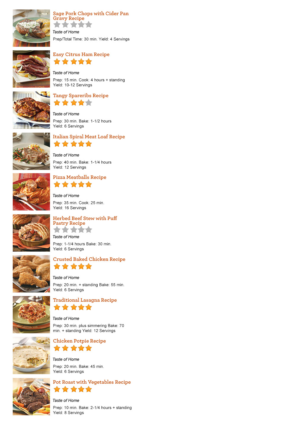 main dishes order